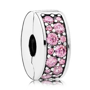 Pandora Pink Pave Spacer Clip 100% AUTH